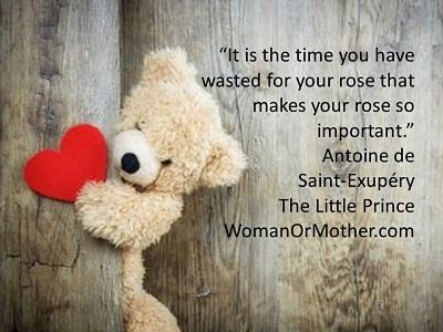 Aphorisms It is the time you have wasted for your rose that makes your rose so important Antoine de Saint-Exupery, The Little Prince