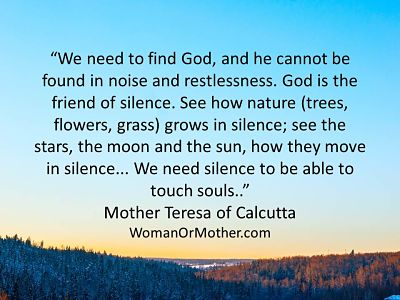 Aphorisms We need to find God, and he cannot be found in noise and restlessness Mother Teresa of Calcutta