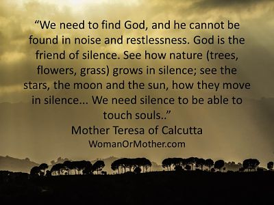 Aphorisms We need to find God, and he cannot be found in noise and restlessness